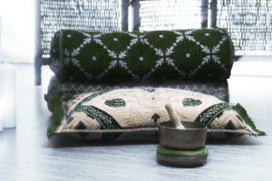Asian seat cushion, singing bowl, floor,