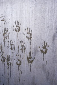 Wall, hand marks, wet,   Wall, concrete wall, concrete, demarcation, border, restriction, closing off, obstacle, barrier, protection, drily, hard, high, inflexibly, locked up, caught, captivity, hands, palms, dirty, marks, transience, art, quietly life,