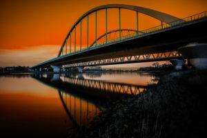 Bridge over the river Elbe in Lutherstadt-Wittenberg (orange Edition)