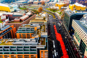 over the roofs of Berlin with views around the Potsdamer Platz