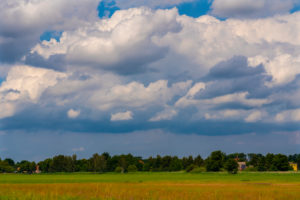Agricultural area on a sunny day in summer with big clouds
