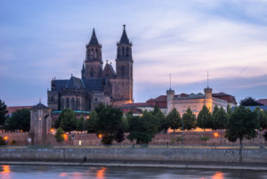 Germany, Saxony-Anhalt, Magdeburg Cathedral in the evening