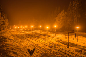 Germany, Saxony-Anhalt, Schierke, Snowy Schierke station in the evening