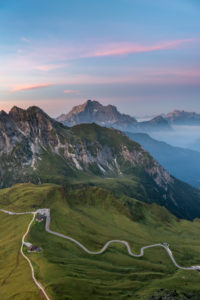 Cortina d'Ampezzo, Belluno, Veneto. Italy. Passo Giau and Monte Civetta just before sunrise