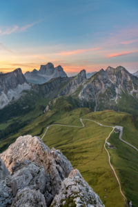 Cortina d'Ampezzo, Belluno, Veneto. Italy. Passo Giau Monte Pelmo and Monte Cernera just before sunrise