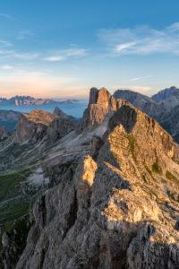 Cortina d'Ampezzo, Belluno, Veneto. Italy. Averau and Nuvolau with the refuge at sunrise