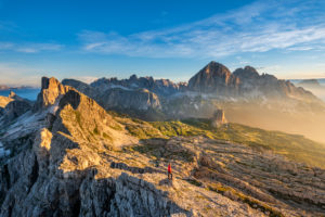 Cortina d'Ampezzo, Belluno, Veneto. Italy. Averau and Nuvolau with the refuge at sunrise. Right behind the three Tofanen