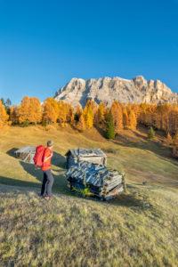 Hochabtei / Alta Badia, Provinz Bozen, Südtirol, Italien, Europa. Sonnenuntergang über den Armentarawiesen, darüber die Felswände des Neuner, Zehner und Heiligkreuzkofel