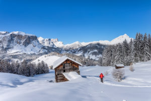 Hochabtei / Alta Badia, Bolzano province, South Tyrol, Italy, Europe. Ascending with snowshoes to the Armentara meadows. In the background the Puez Group and the Peilterkofel