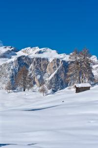 Hochabtei / Alta Badia, Provinz Bozen, Südtirol, Italien, Europa. Winter auf den Armentarawiesen. Im Hintergrund die die Gardenaccia-Hochfläche