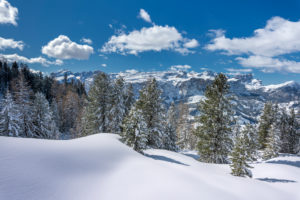 Hochabtei / Alta Badia, Provinz Bozen, Südtirol, Italien, Europa. Winter auf den Armentarawiesen. Im Hintergrund die Sellagruppe, die Puezgruppe und die Geislerspitzen
