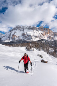 Hochabtei / Alta Badia, Bolzano province, South Tyrol, Italy, Europe. Ascending with snowshoes to the Armentara meadows. In the background the peaks of the Neunerspitze, Zehnerspitze and Heiligkreuzkofel
