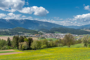 Bruneck, Bolzano province, South Tyrol, Italy. View of the city of Bruneck