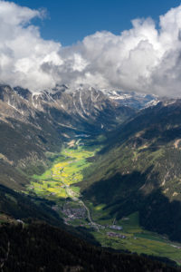 Antholz, Bolzano province, South Tyrol, Italy. View from the summit of the Rammelstein to the Antholz Valley