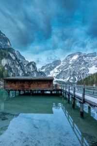 Braies, Dolomites, Bolzano Province, South Tyrol, Italy. Lake Braies with the Seekofel at the blue hour