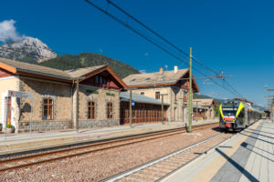 Toblach, South Tyrol, Bolzano province, Italy. A flirt train of the Puster Valley Railway in Toblach station