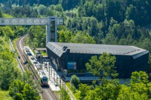 Percha, South Tyrol, Bolzano province, Italy. A flirt train of the Puster Valley Railway in Percha station