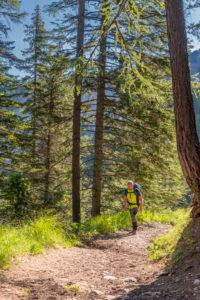 Aldein, Provinz Bozen, Südtirol, Italien. Geoparc Bletterbach. Ein Wanderer im Aufstieg zum Aldeiner Weißhorn