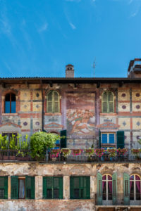 Verona, Province of Verona, Veneto, Italy. The wonderful frescoes by Alberto Cavalli on the Mazzanti houses