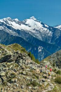 Sand in Taufers, Provinz Bozen, Südtirol, Italien. Wanderer auf dem Panoramaweg im Wandergebiet Speikboden. Im Hintergrund die Zillertaler Alpen mit den Gipfeln der Floitenspitze und Grosser Löffler