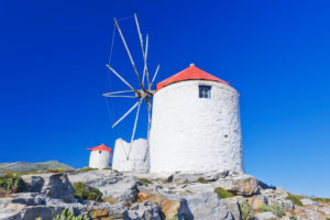 Traditional windmills, Chora, Amorgos, Cyclades Islands, Greece, Europe
