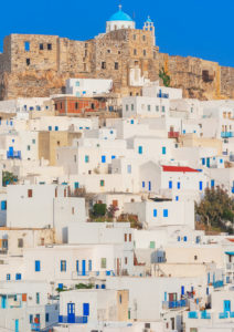 Venetian castle and the whitewashed houses of the Chora, Astypalea, Dodecanese Islands, Greece, Europe