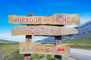 Signpost, Torres del Paine National Park, Patagonia, Chile, South America