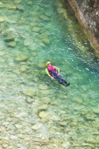 Woman canyoning in Verdon river, Gorge du Verdon, Alpes de Haute Provence, Provence, France