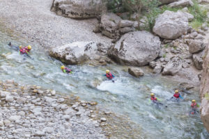 Group of people canyoning in Verdon river, Gorge du Verdon, Alpes de Haute Provence, Provence, France
