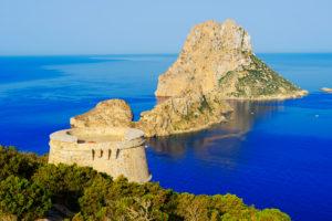 Torre des Savinar and Es Vedra Islets in background, Ibiza, Balearic Islands, Spain,