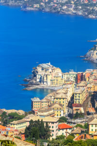Elevated view of Camogli village and Gulf of Paradise, Camogli, Liguria, Italy, Europe