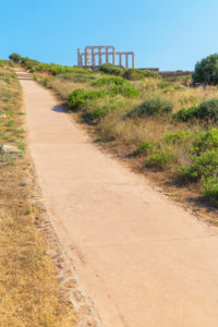 Road leading to Temple of Poseidon, Cape Sounion, Attica, Greece