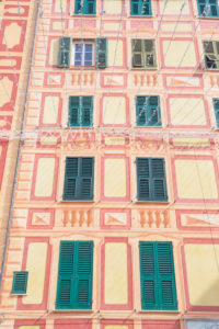 Traditional Ligurian house facade, Camogli, Liguria, Italy, Europe