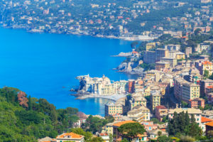 Elevated view of Camogli and Gulf of Paradise, Camogli, Liguria, Italy, Europe