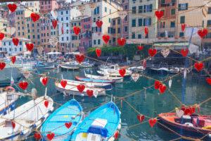 Marina harbour, Camogli, Liguria, Italy,