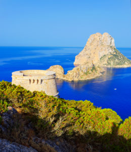Torre des Savinar and Es Vedra Islets in background, Ibiza, Balearic Islands, Spain,