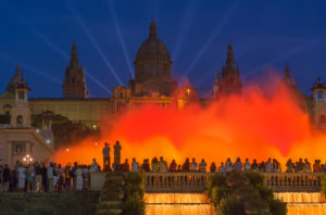 The Magic Fountain and Palace of Montjuic, Barcelona, Catalonia, Spain