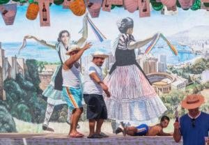People enjoying Malaga festival, Malaga Festival, Malaga, Andalusia, Spain,