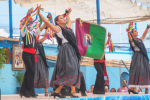 Young people perfoming a Flamenco dance during the celebration of Malaga Festival, Malaga, Andalusia, Spain, Europe