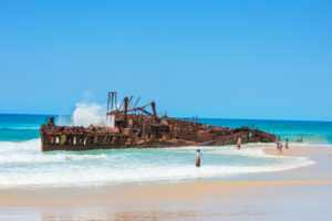 The rusting hulk of the Maheno Shipwreck, Fraser Island, Queensland, Australia,