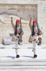 Evzone soldiers performing change of guard, Athens, Greece, Europe,