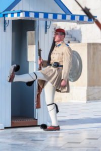 Evzone soldier performing change of guard, Athens, Greece, Europe,