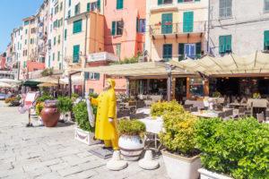 Ansicht der Promenade von Portovenere, Portovenere, Bezirk La Spezia, Ligurien, Italien