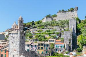Ansicht des Dorfes Portovenere, Portovenere, Bezirk La Spezia, Ligurien, Italien