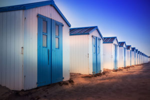 Netherlands, Holland, on the West Frisian island of Texel, North Holland, huts on the beach