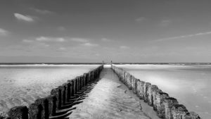 Groynes in Holland with view of the sea