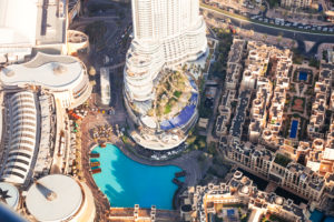 Dubai mall and fountain from above