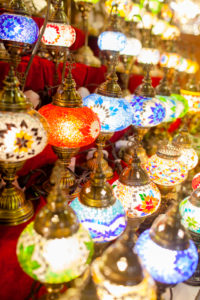 Dubai souk with handcrafted lights