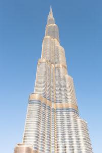 Dubai, Burj Khalifa shining golden during sunset