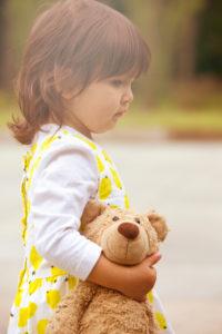 Girls, stand, hold, Teddy, sidewise,
